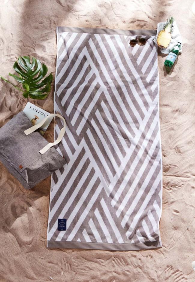 db513db82 Strandhåndkle Bonsall hvit/grå | Sommergaver for bedrifter